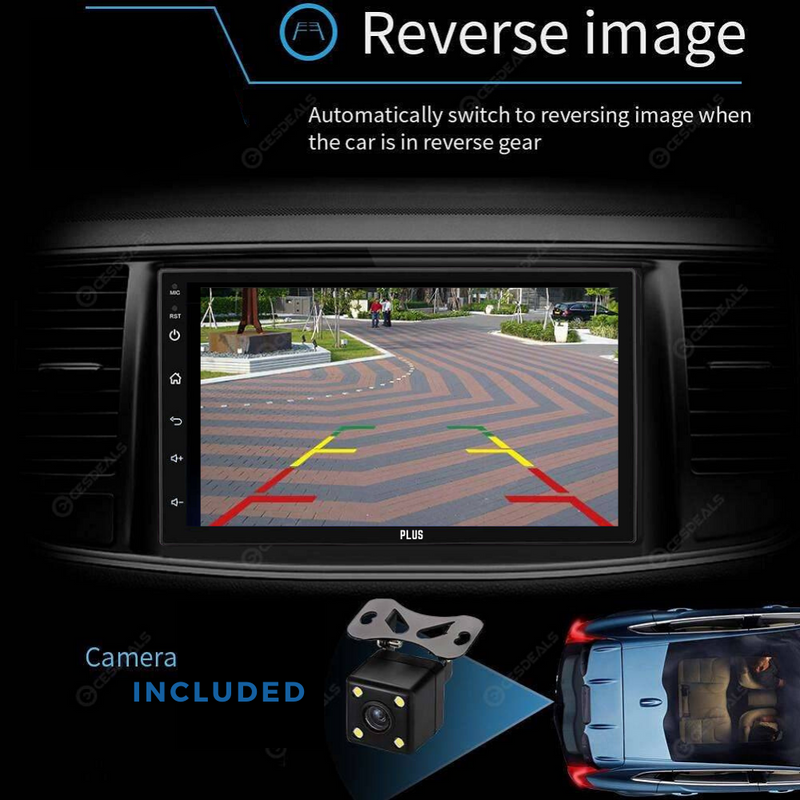 "PLUS 7168 7"" Android Car Stereo Bluetooth Multimedia with Reverse Camera - PlusCenter.co.uk"