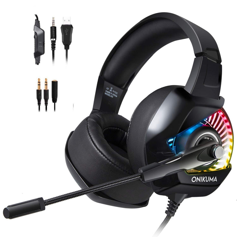 Gaming Headset - K6 3.5mm Stereo, Noise Cancelling, LED Light - PlusCenter.co.uk