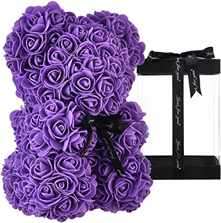 Purple Luxury Handmade Rose Bear + Gift Box - PlusCenter.co.uk