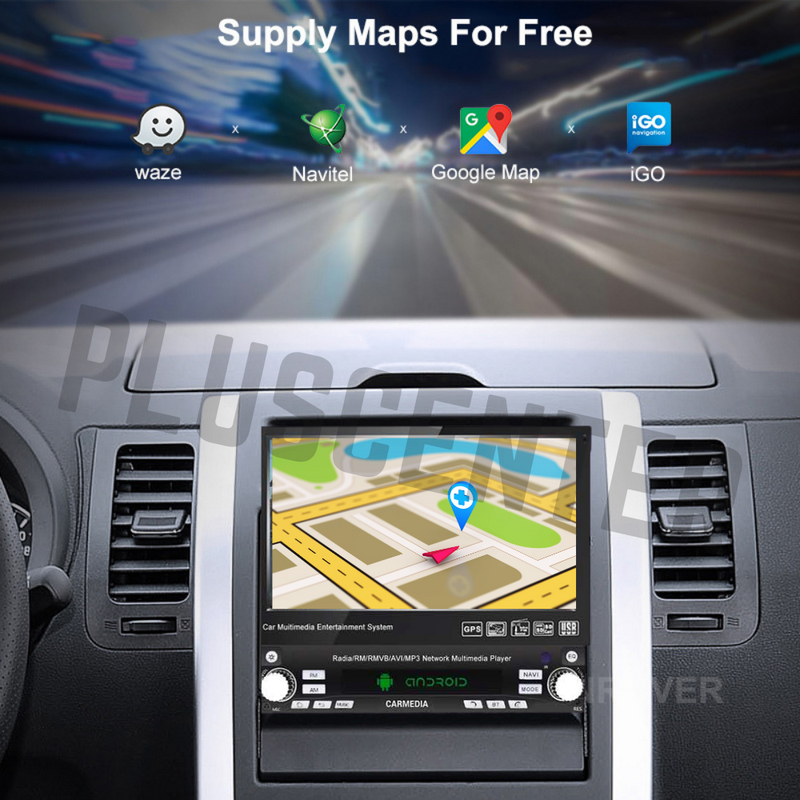 PLUS 7'' Android CAM Single DIN 16GB GPS Bluetooth Car Stereo MP5 FM 1DIN7IA - PlusCenter.co.uk