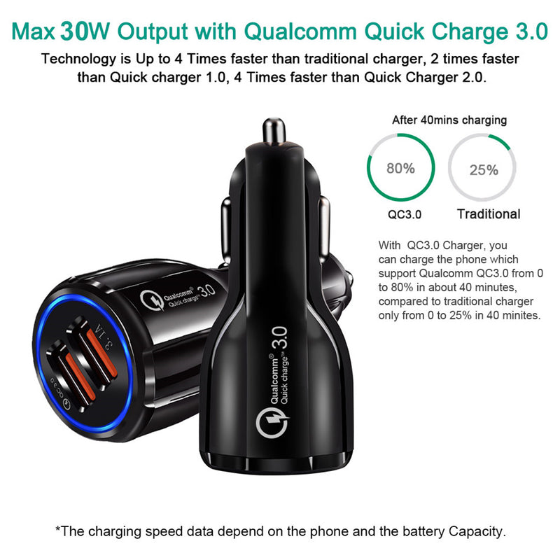 Adapter Car Charger 3.0 USB Android iOs - PlusCenter.co.uk