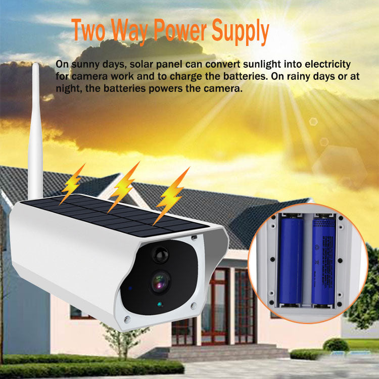 Wireless Security Surveillance Solar Panel Battery Powered WiFi IP Solar CCTV Camera Outdoor 1080P - PlusCenter.co.uk
