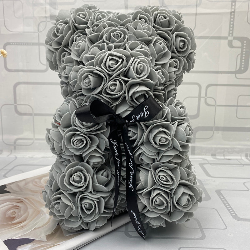 Grey Luxury Handmade Rose Bear - Gift Box - PlusCenter.co.uk