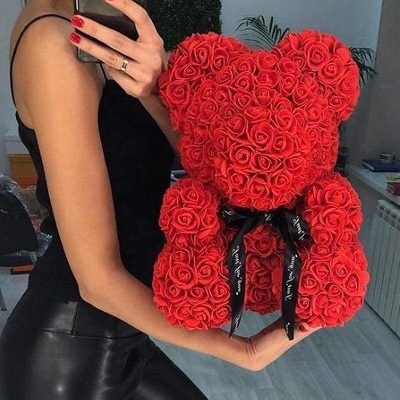 Red Luxury Handmade Rose Bear + Gift Box - PlusCenter.co.uk