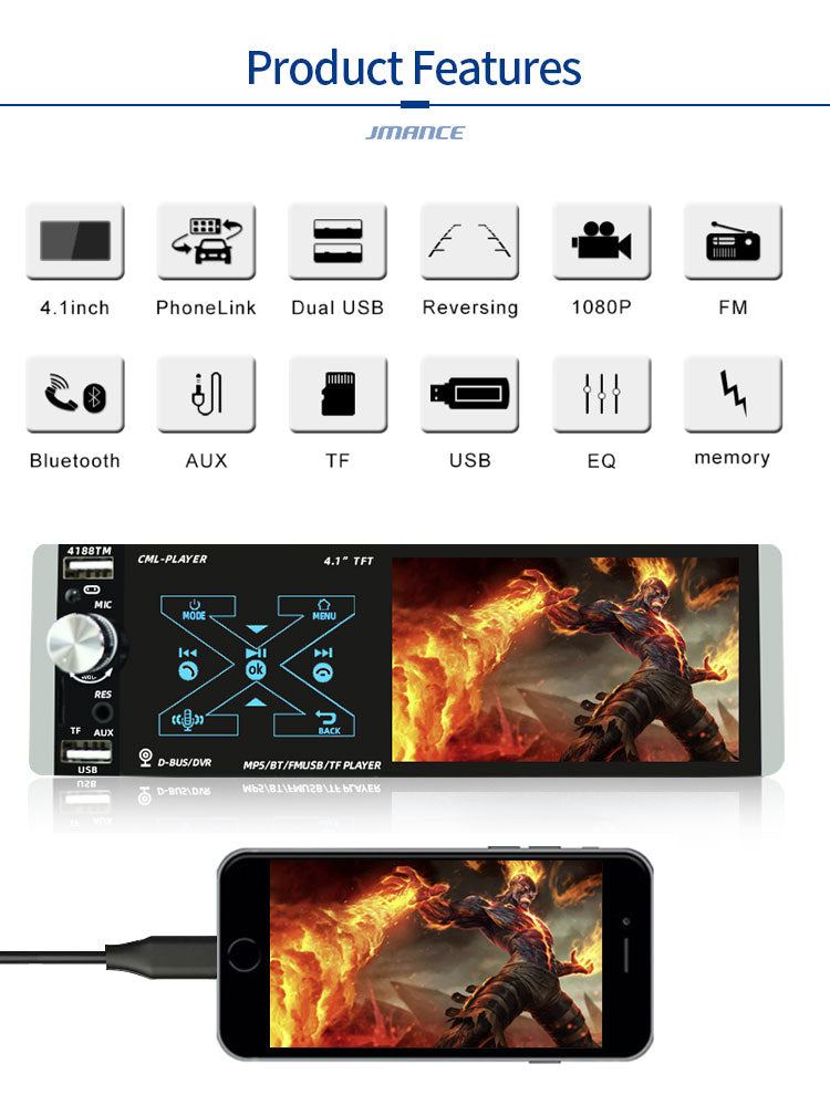 PLUS 4.1'' CarPlay Single DIN 16GB GPS Bluetooth Car Stereo MP5 FM 4188 - PlusCenter.co.uk
