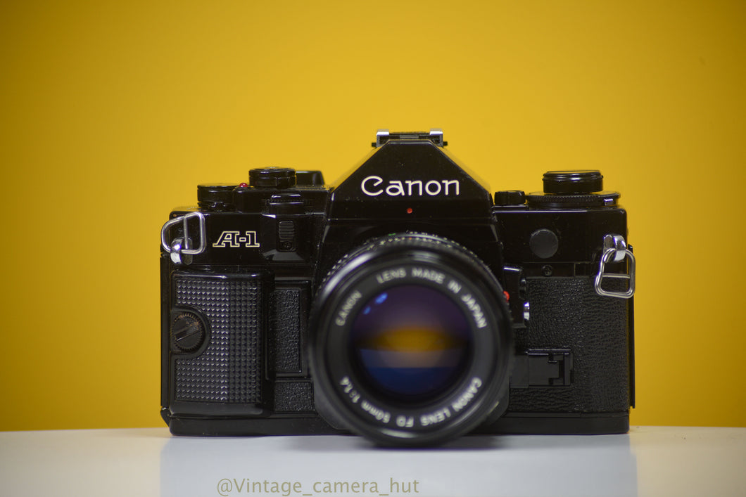 Canon A-1 Vintage 35 Film Camera With 50mm F/1.4 Prime Lens