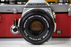 Olympus OM2n MD 35mm Film Camera with Zuiko 50mm f/1.8 Lens Filter Reconditioned with Red Leather Skin