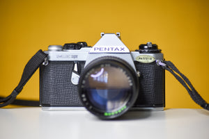 Pentax ME Super Vintage 35mm Film Camera with Paragon 135mm f2.8 Lens And Strap