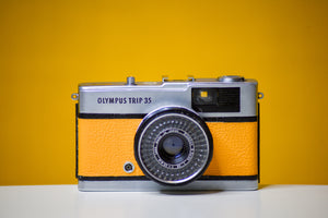 Olympus Trip 35 Vintage Film Camera with Zuiko 40mm f2.8 Lens With New Yellow Leather Skin