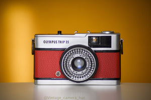 Olympus Trip 35 Vintage Film Camera with Zuiko 40mm f2.8 Lens Serviced with New Red Skin