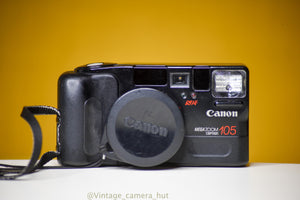 Canon Mega Zoom 105 35mm Film Camera with Cap and Strap