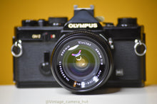 Load image into Gallery viewer, Olympus OM2 MD Black 35mm Film Camera with Vivitar Auto Wide 28mm f/2 Lens and Lens Cap