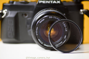 Pentax P30 Film Camera 35mm with Vivitar 28-70mm f/3.5 Macro Zoom Lens with Lens Filter and Strap