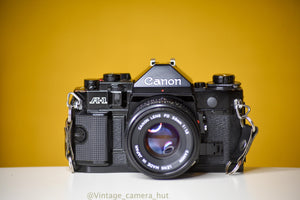 Canon A-1 Vintage 35mm Film Camera with Canon FD 50mm f/1.8 lens