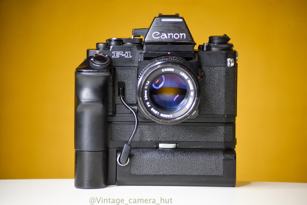Canon F-1n 35mm Film Camera with Canon FD 50mm f/1.4 Lens, Motor Drive, Battery Pack and AE Finder FN
