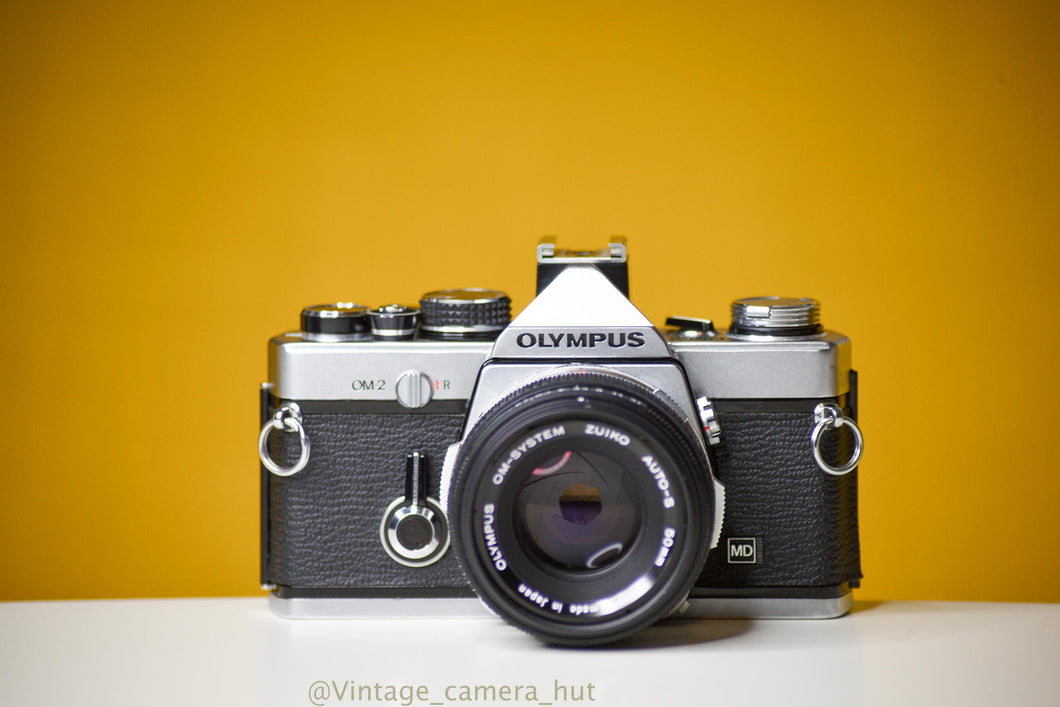 Olympus OM2 MD 35mm Film Camera with Zuiko 50mm f/1.8 Lens Filter and Lens Cap