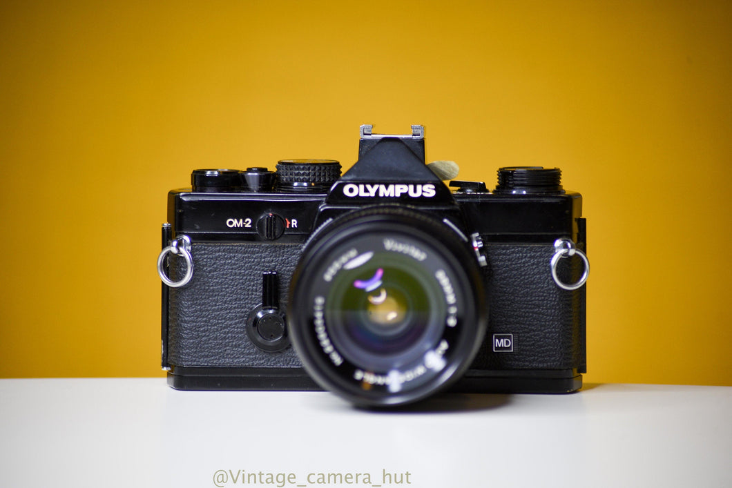 Olympus OM2 MD Black 35mm Film Camera with Vivitar Auto Wide 28mm f/2 Lens and Lens Cap