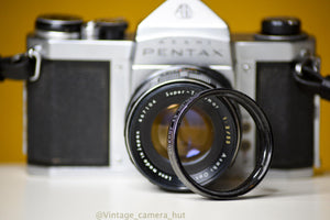 Pentax S1a 35mm Film Camera with Super Takumar 55mm f/2 with Lens Filter and Strap