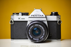 Pentax K1000 35mm Film Camera with SMC Pentax M 28mm f/2.8 Prime Lens