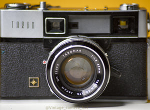 Taron 35mm Film Camera Rangefinder with Taronar 45mm f/1.8 Lens and Leather Case with Strap