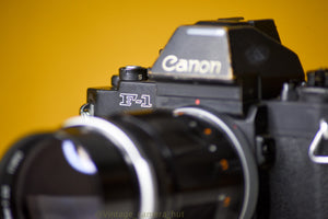 Canon F-1n 35mm Film Camera with Canon FD 135mm f/2.5 Lens
