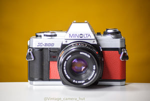 Minolta X-300 Vintage 35mm Film Camera with MInolta MD 45mm f/2 Prime Lens Reconditioned with New Red Skin