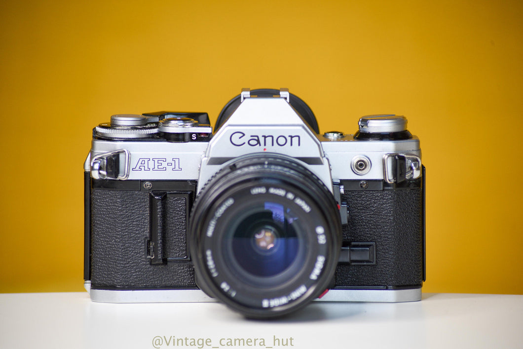 Canon AE-1 Vintage 35 Film Camera With Sigma Mini-Wide 28mm f/2.8 Lens