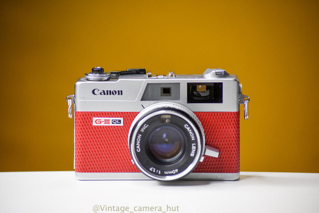 Canon Canonet QL17 GIII 35mm Film Camera with Canon 40mm f/1.7 Lens Rangefinder Reconditioned with new Red Skin