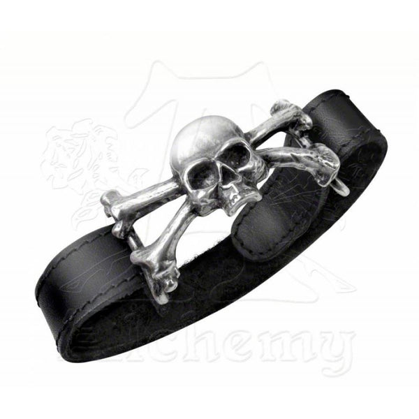 "Alchemy Gothic ""Skull 'n' Bones""  Leather Wrist Strap"