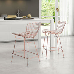 Zuo Modern Wire Counter Chair Rose Gold Set of 2