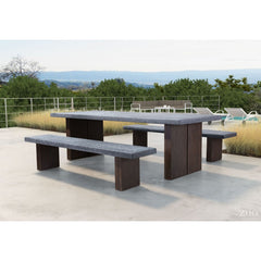 Zuo Modern Outdoor Windsor Bench Cement & Natural