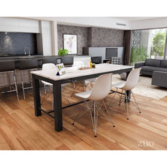 Zuo Modern Dawson Dining Table Faux Marble & Matt Black