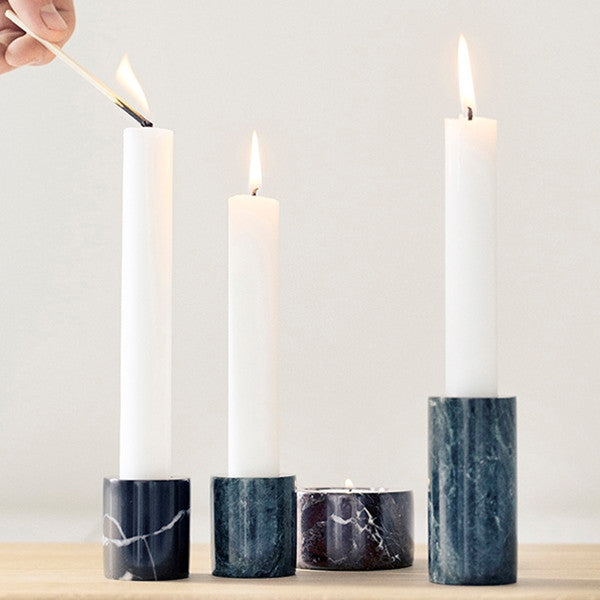 ferm LIVING Tea light Marble Candleholder Black