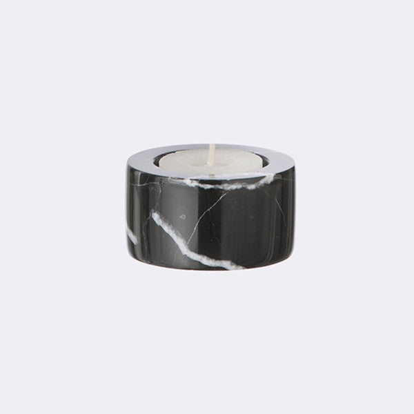 ferm LIVING - Tea light Marble Candleholder - Black