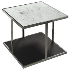 Modloft Ann Side Table White Marble on Wenge
