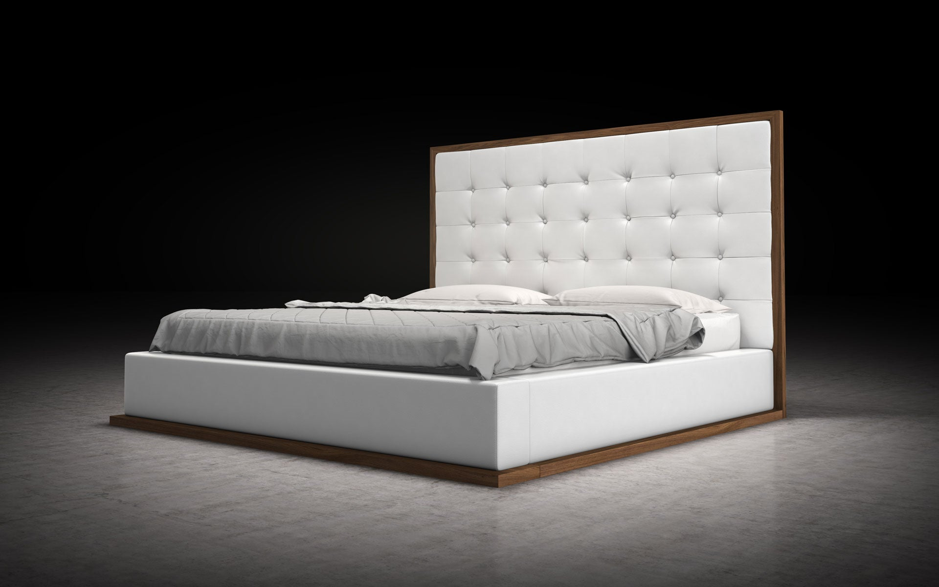 Modloft Ludlow Bed White on Walnut