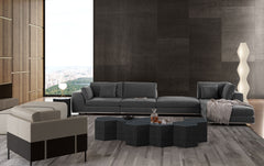 Modloft Perry 1 Arm Corner Sofa With 2 Ottomans Shadow Grey