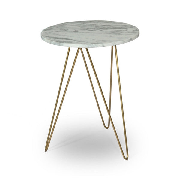 ION Design Solo Accent Table - Marble Top/Gold Base
