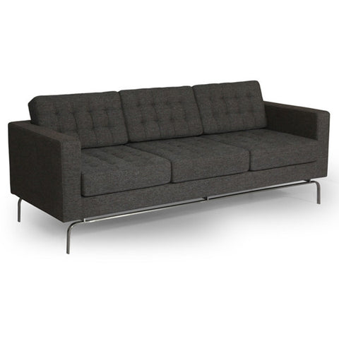 ION Design Drake Sofa - Grey Fabric - Stainless Steel Legs