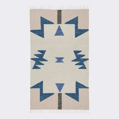 ferm LIVING - Kelim Rug - Blue Triangles - Small