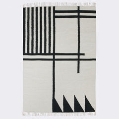 ferm LIVING - Kelim Rug - Black Lines - Large