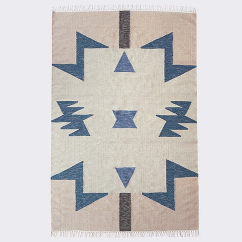 ferm LIVING - Kelim Rug - Blue Triangles - Large