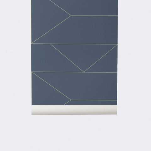 ferm LIVING Lines Wallpaper Dark Blue | Modern Karibou