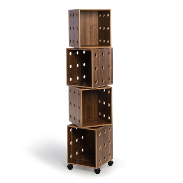 OFFI Walnut Perf Boxes - 4 stack with casters