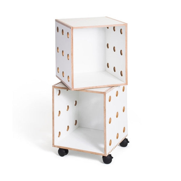 OFFI White laminate Perf Boxes - 2 stack with casters