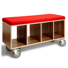 OFFI Walnut Bench Box Red Wool Upholstery