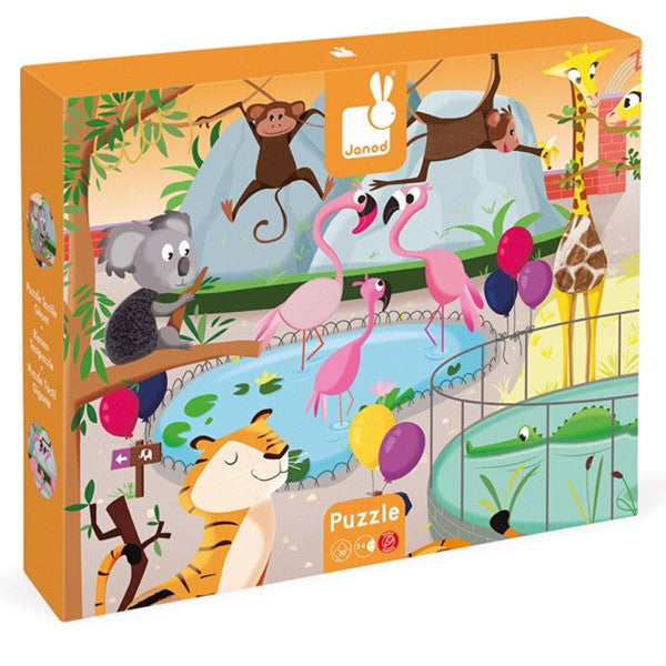 Janod - Tactile Puzzle 'A Day at the Zoo' - 20pcs