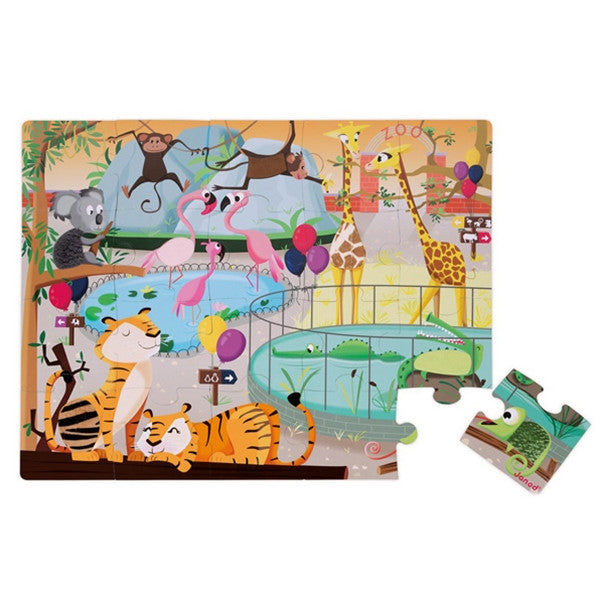 Janod Tactile Puzzle 'A Day at the Zoo' 20pcs