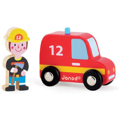 Janod - Story Set Firefighter Car & Firefighter