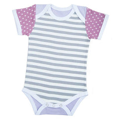 FARM BUDDIES - Penny Pig - Grey stripes Onesie (3-6M)